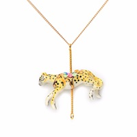 Hop Skip And Flutter Merry Go Roound Porcelain Cheetah Pendant Gold