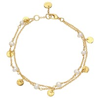 John Lewis 18Ct Gold Plated Hammered Discs And Pearl Double Chain Bracelet Gold