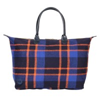 Mi Pac Picnic Check Weekender Bag Navy Orange