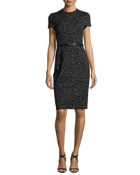 Narciso Rodriguez Short Sleeve Jacquard Sheath Dress Black