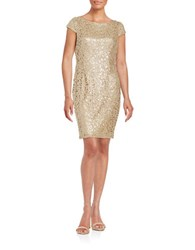 Adrianna Papell Sequined Lace Cap Sleeve Sheath Dress Gold