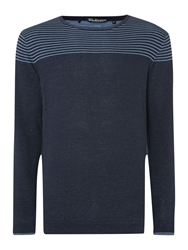 Duck And Cover Stripe Crew Neck Pull Over Jumper Navy