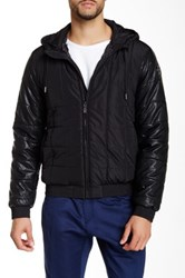 Versace Faux Leather Down Jacket Black