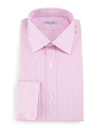 Charvet Striped Barrel Cuff Dress Shirt Pink