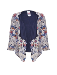Yumi Tribal Butterfly Print Jacket Grey