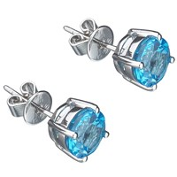Ewa 9Ct White Gold Topaz Stud Earrings Blue