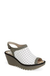 Women's Fly London 'Yile' Perforated Slingback Wedge Off White Grey
