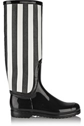Dolce And Gabbana Striped Faux Patent Leather Rain Boots Black