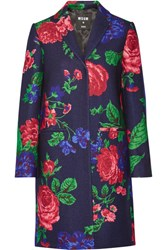 Msgm Floral Print Wool Blend Coat Pink