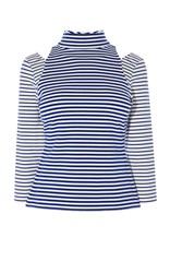 Karen Millen Contrast Sleeve Stripe Top Blue Multi