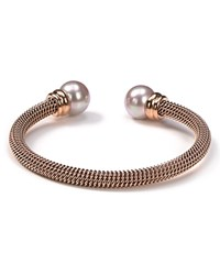 Majorica Stainless Steel And Nuage Simulated Pearl Bangle Rose Gold