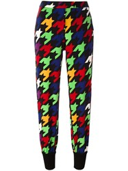 Boutique Moschino Neon Houndstooth Pattern Trousers Black