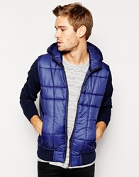Boss Orange Sweatshirt Jacket With Quilted Front And Hood Navy