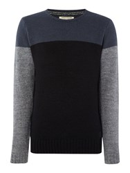 Anerkjendt Lendi Colour Block Crew Neck Jumper Blue