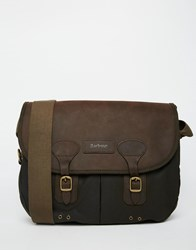 Barbour Wax Leather Messenger Bag Green