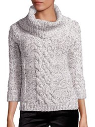 7 For All Mankind Wool Blend Cable Knit Sweater Cream Black
