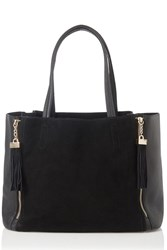 Oasis Suede Patch Joy Tassel Shopper Black