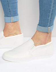 Asos Slip On Plimsolls In White Leather Look White