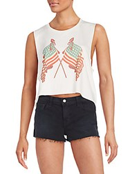 Wildfox Couture Lady Liberty Cropped Chad Tank Vintage Lace