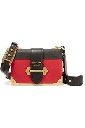 Prada Cahier Two Tone Leather Shoulder Bag Red