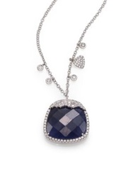 Meira T Sapphire Diamond And 14K White Gold Pendant Necklace