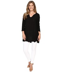 Allen Allen 3 4 Sleeve Keyhole Tunic Black Women's Clothing