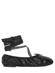Valentino Chained Crackled Leather Ballerina Flats