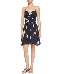 Band Of Outsiders Printed Slip Dress W Crisscross Waist Classic Navy