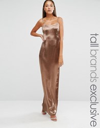 Missguided Tall Exclusive Silky Low Back Maxi Bronze Gold
