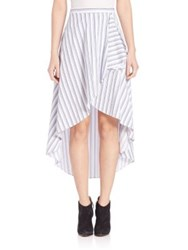 Elle Sasson Genevieve Striped Skirt Three Tone Blue Stripe