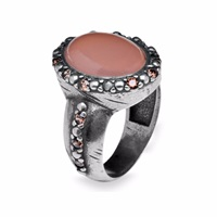 Platadepalo Silver And Zircon Ring With Pink Chalcedony Pink Purple Silver