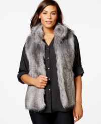 Calvin Klein Plus Size Faux Fur Vest Dark Gray