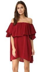 Mlm Label Maison Off Shoulder Dress Burgundy
