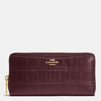 Coach Accordion Zip Wallet In Croc Embossed Leather Light Gold Oxblood