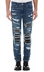Amiri Men's Leather Inset Distressed Jeans Blue Black