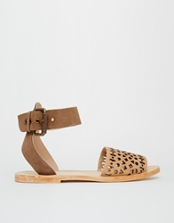 H By Hudson Soller Ankle Strap Leather Flat Sandals Blush