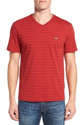 Lacoste Men's Stripe V Neck T Shirt Passion Holly