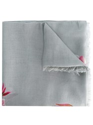 Dolce And Gabbana Floral Bouquet Print Scarf Grey