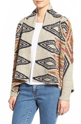 Junior Women's Woven Heart Diamond Pattern Shawl Cardigan