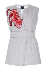 Lake Studio Embroidered Sleeveless Belted Vest Neutral