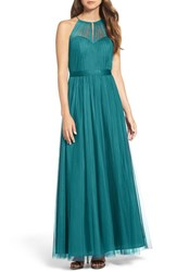 Wtoo Women's Tulle Halter Neck Gown Teal