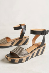 Kelsi Dagger Striped Raffia Wedges Black Motif