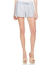 French Connection Chambray Drawstring Shorts Pale Blue