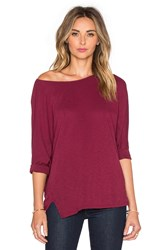 Michael Stars 3 4 Sleeve Wide Neck Dolman Tee Red