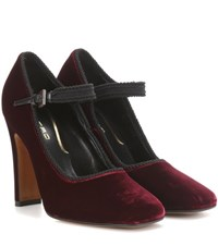 Etro Velvet Mary Jane Pumps Red