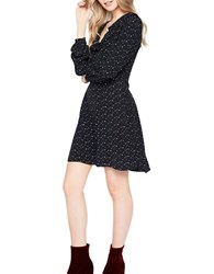Miss Selfridge Long Sleeve Star Print Skater Fit And Flare Dress Black