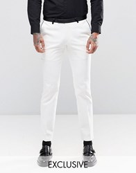Noose And Monkey Super Skinny Suit Trousers With Contrast Piping Stretch White