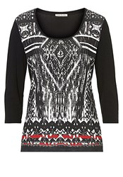 Betty Barclay Embellished Printed Top Black