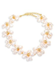 Kenneth Jay Lane Crystal And Faux Pearl Flower Necklace Pearl Gold