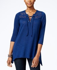 Ny Collection Petite Lace Up Peasant Blouse Estate Tidal